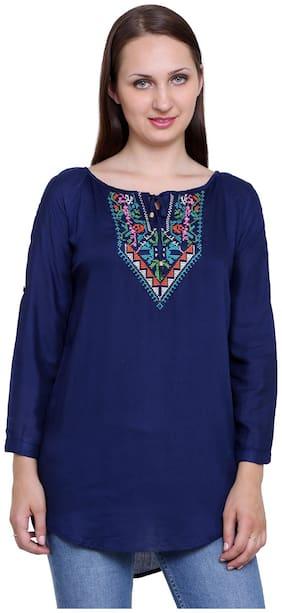 Papsara Blue Rayon Women Long Top