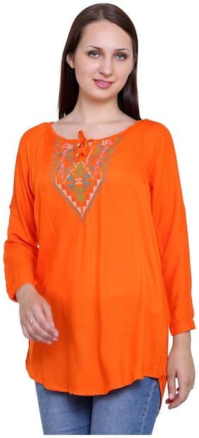 Papsara Orange Rayon Women Long Top