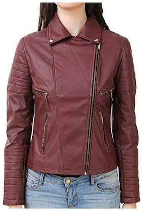 PARE Women Solid Leather Jacket - Maroon