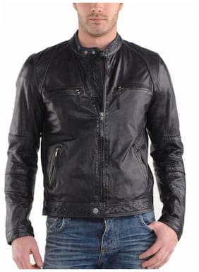 PARE 100% Genuine Leather Black Jacket for Men's