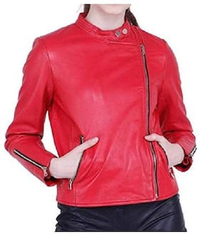 PARE Women Solid Leather Jacket - Red