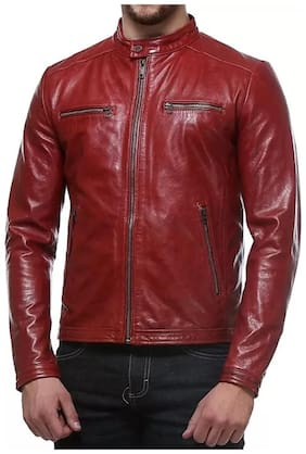 PARE 100% Genuine Leather Red Jacket for Men's