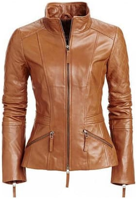 PARE Women Solid Leather Jacket - Brown