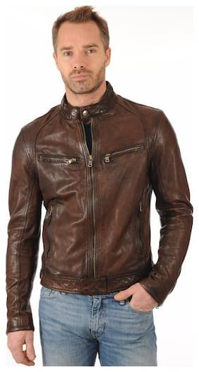 PARE 100% Genuine Leather Brown Jacket for Men's