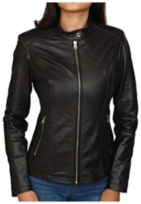 PARE Women Solid Leather Jacket - Black