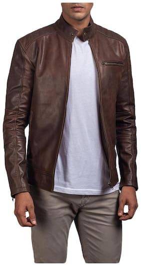PARE Genuine Leather Brown Jacket for Men's