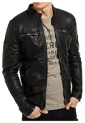 PARE Genuine Leather Black Jacket for Men's