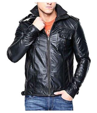 PARE Men Black Solid Leather jacket