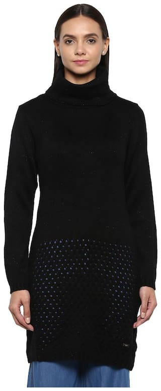 Park Avenue Woman Black Regular Fit Polyester Blend Sweater