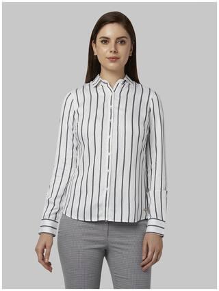 Park Avenue Women White Striped Regular Fit Shirt