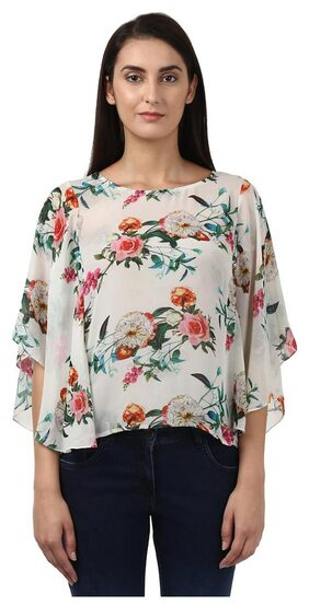 Park Avenue Woman White Polyester Regular Fit Top