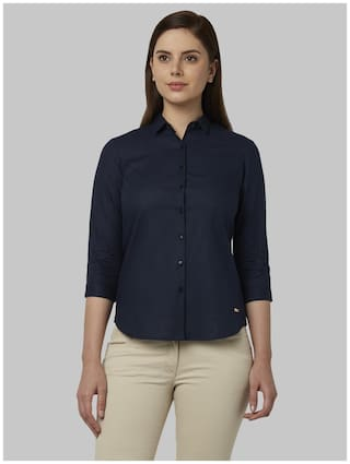 Park Avenue Women Blue Solid Regular Fit Shirt