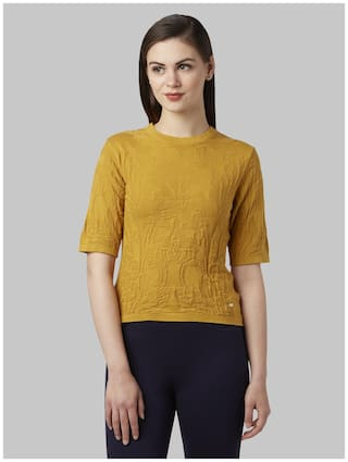 Park Avenue Women Solid Pullover - Yellow