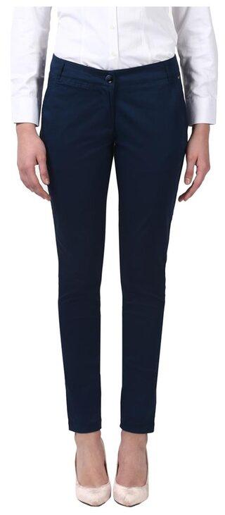 Park Avenue Solid Dark Blue 3% Spandex/97% Cotton Regular Fit Trouser