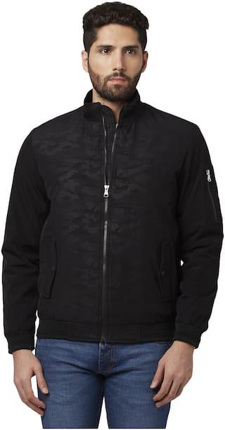Park Avenue Men Polyester Bomber Jacket Black color