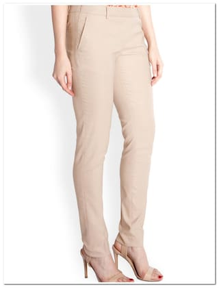 Slim Fit Trousers Brown Avenue Polyester amp; Solid Pants Park Blend wx4OqanU