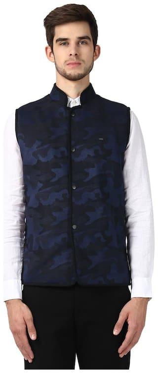 Park Avenue Men Blue Cotton Lycra Blend Slim Fit Blazer