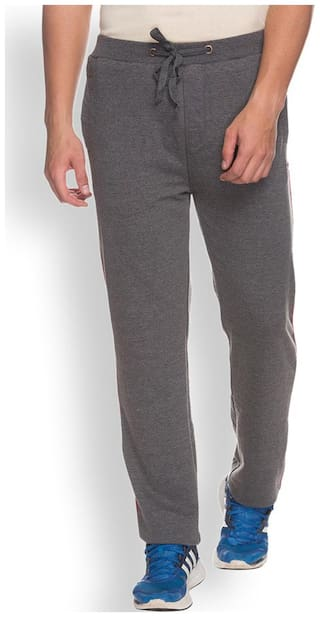 Park Avenue Men Cotton Track Pants - Grey