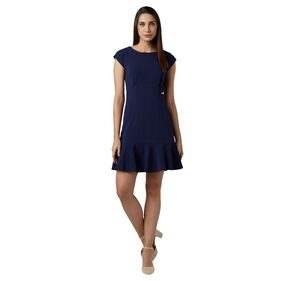 Park Avenue Polyester Solid Bodycon Dress Blue