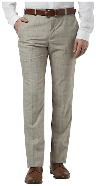 Park Avenue Checkered synthetic Medium Fawn Slim Fit 0 0 Trouser