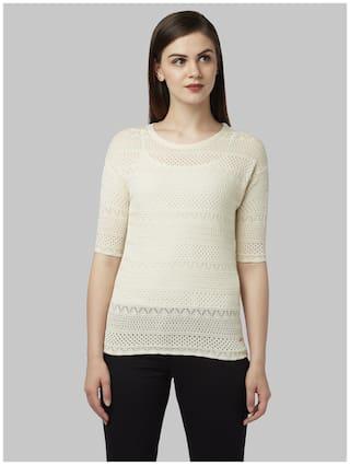 Park Avenue Women Solid Pullover - White