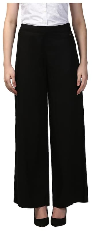 Fit Black Trouser Viscose Regular Solid 1 Avenue Park AZxBn
