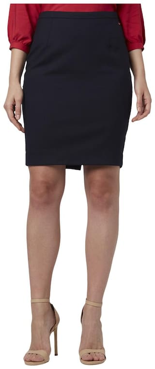 Park Avenue Women Black Regular Fit Skirt