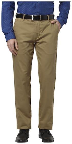 Park Avenue Khaki Cotton Blend Tapered Fit Trouser