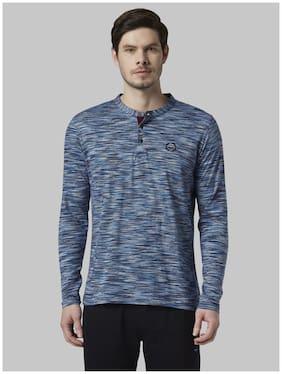 Men Mandarin Collar Self Design T-Shirt Pack Of 1
