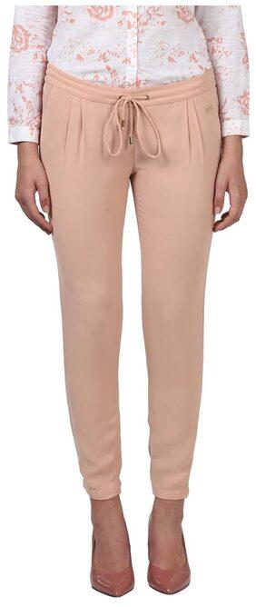 Park Avenue Women Slim Fit Mid Rise Solid Pants - Pink