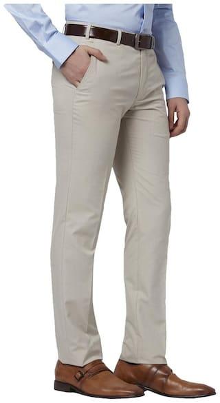 Park Avenue Men Solid Slim Fit Formal Trouser - Brown