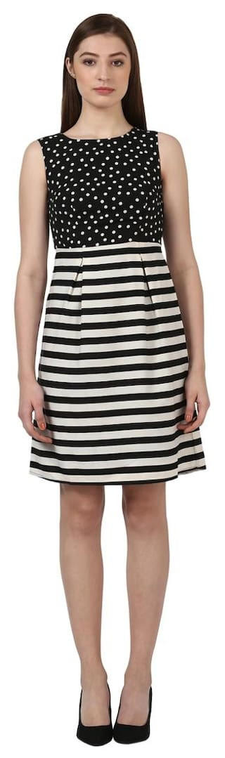 Park Avenue Printed and stripes Black Polyester Regular Fit Boat Neck sleeveless Dress