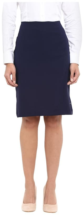 Park Avenue Solid Bodycon skirt Midi Skirt - Blue