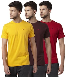 Men Round Neck Solid T-Shirt ,Pack Of Pack Of 3