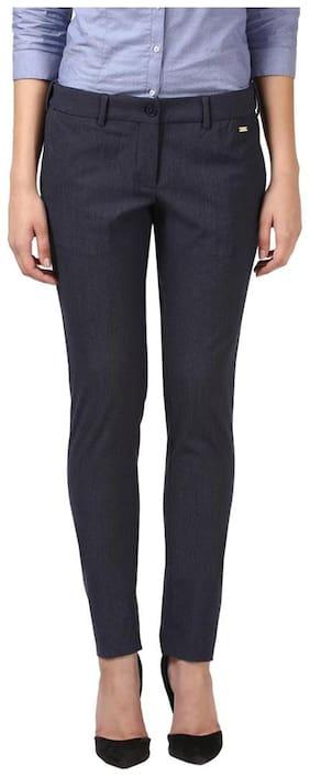 Park Avenue Women Regular fit Striped Regular trousers - Blue