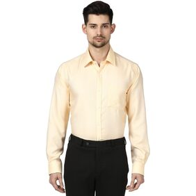 Park Avenue Men Yellow Cotton Slim Fit Wrinkle Free Shirt