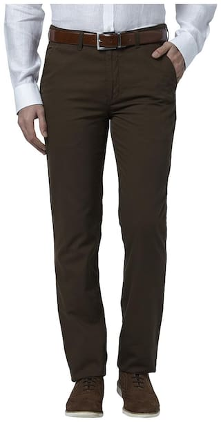 Park Avenue Solid cotton Dark Brown Regular Fit 0 0 Trouser