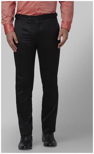 Park Avenue Men Solid Slim Fit Formal Trouser - Black