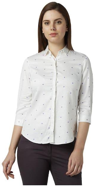 Park Avenue Women White Printed Regular Fit Shirt