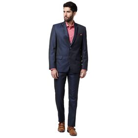 Park Avenue Men Polyester Regular Fit Suit - Blue