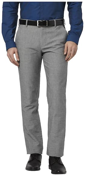 Park Avenue Light Grey Cotton Blend Tapered Fit Trouser
