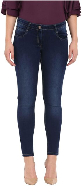 Park Avenue Women Slim Fit Mid Rise Solid Jeans - Blue