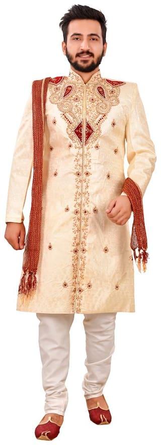 SG RAJASAHAB Silk Medium Sherwani - Brown