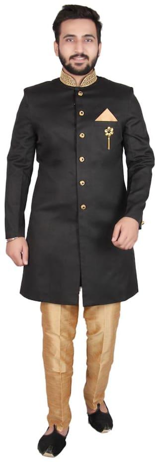 SG RAJASAHAB Silk Medium Sherwani - Black