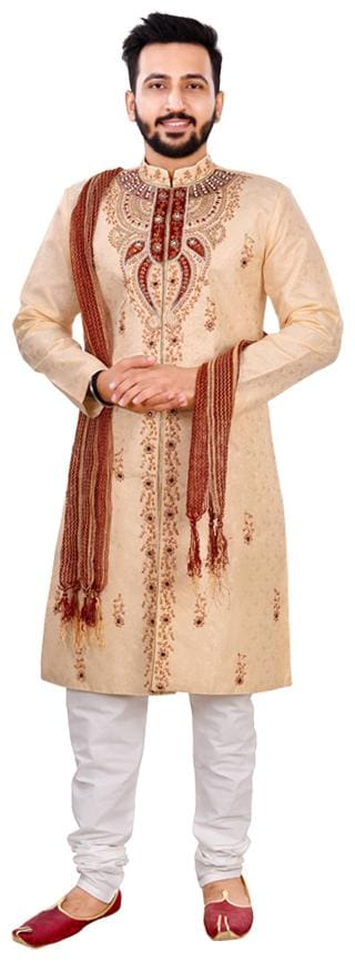 SG RAJASAHAB Silk Medium Sherwani - Gold