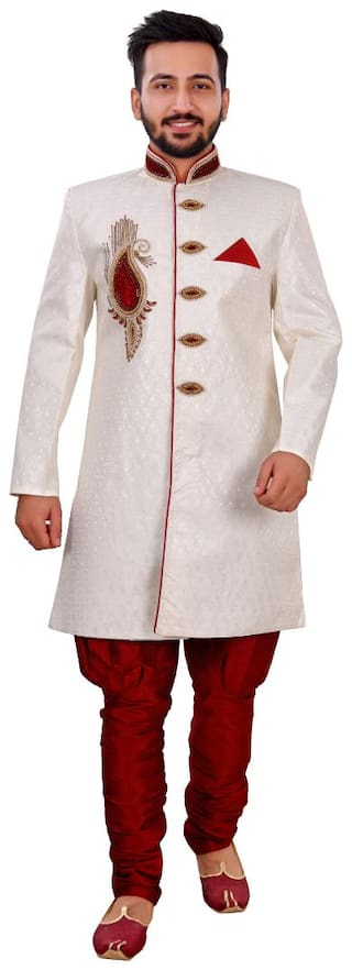 SG RAJASAHAB Silk Medium Sherwani - Cream