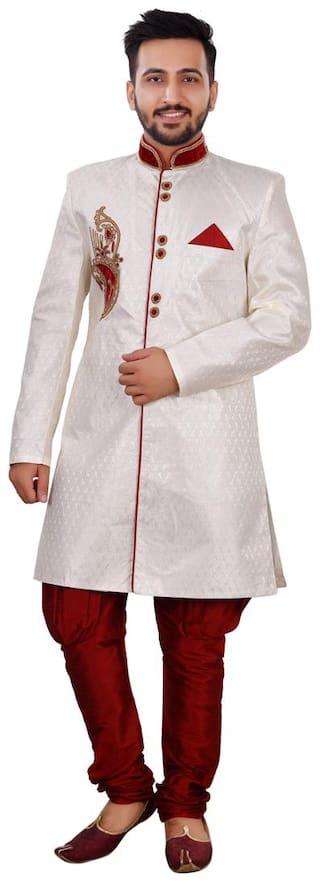 SG RAJASAHAB Silk Medium Sherwani - Cream