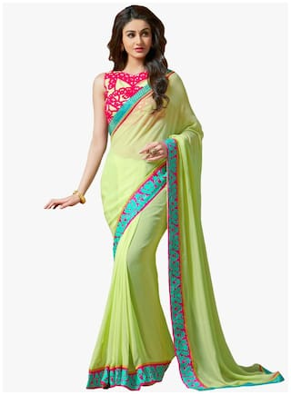 Party Wear Indian Traditional Embroidery Work Saree
