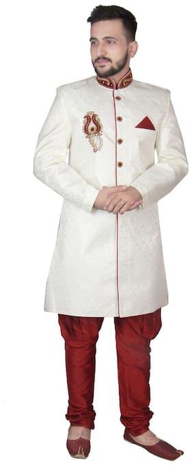 SG Silk Long Sherwani - Cream