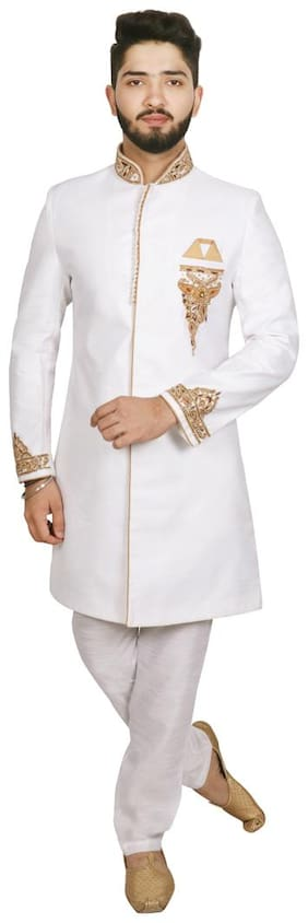 Men Solid Slim Fit Sherwani
